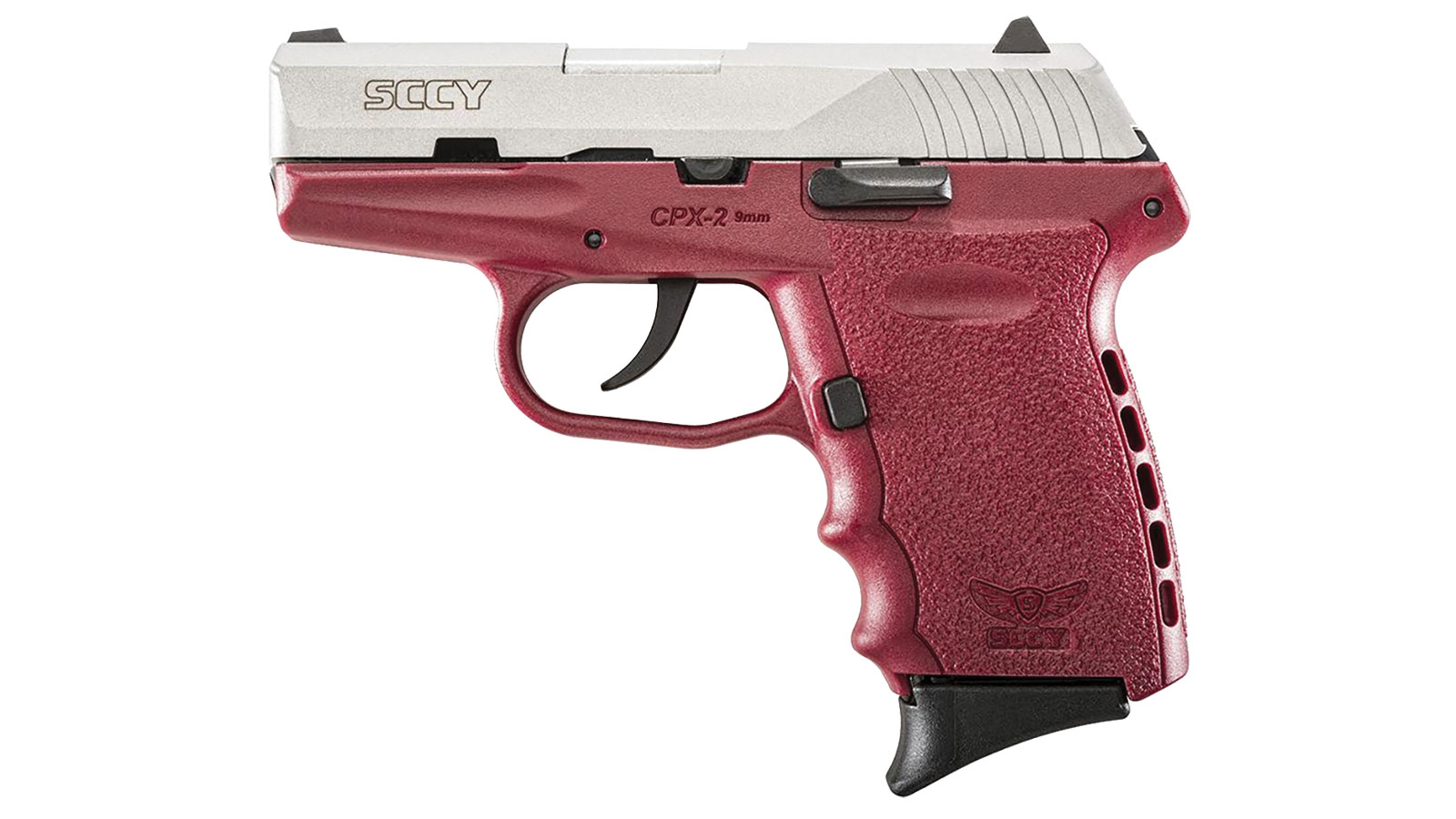 SCCY Industries CPX2TTCR CPX-2 Double 9mm 3.1 10+1 Crimson Polymer Grip|Frame Grip Stainless Steel in.
