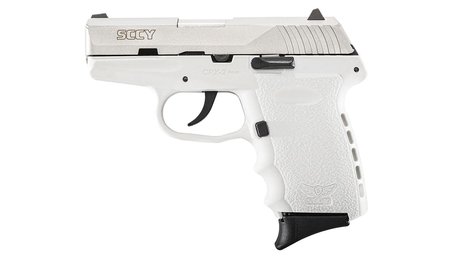 SCCY Industries CPX2TTWT CPX-2 Double 9mm 3.1 10+1 White Polymer Grip|Frame Grip Stainless Steel in.