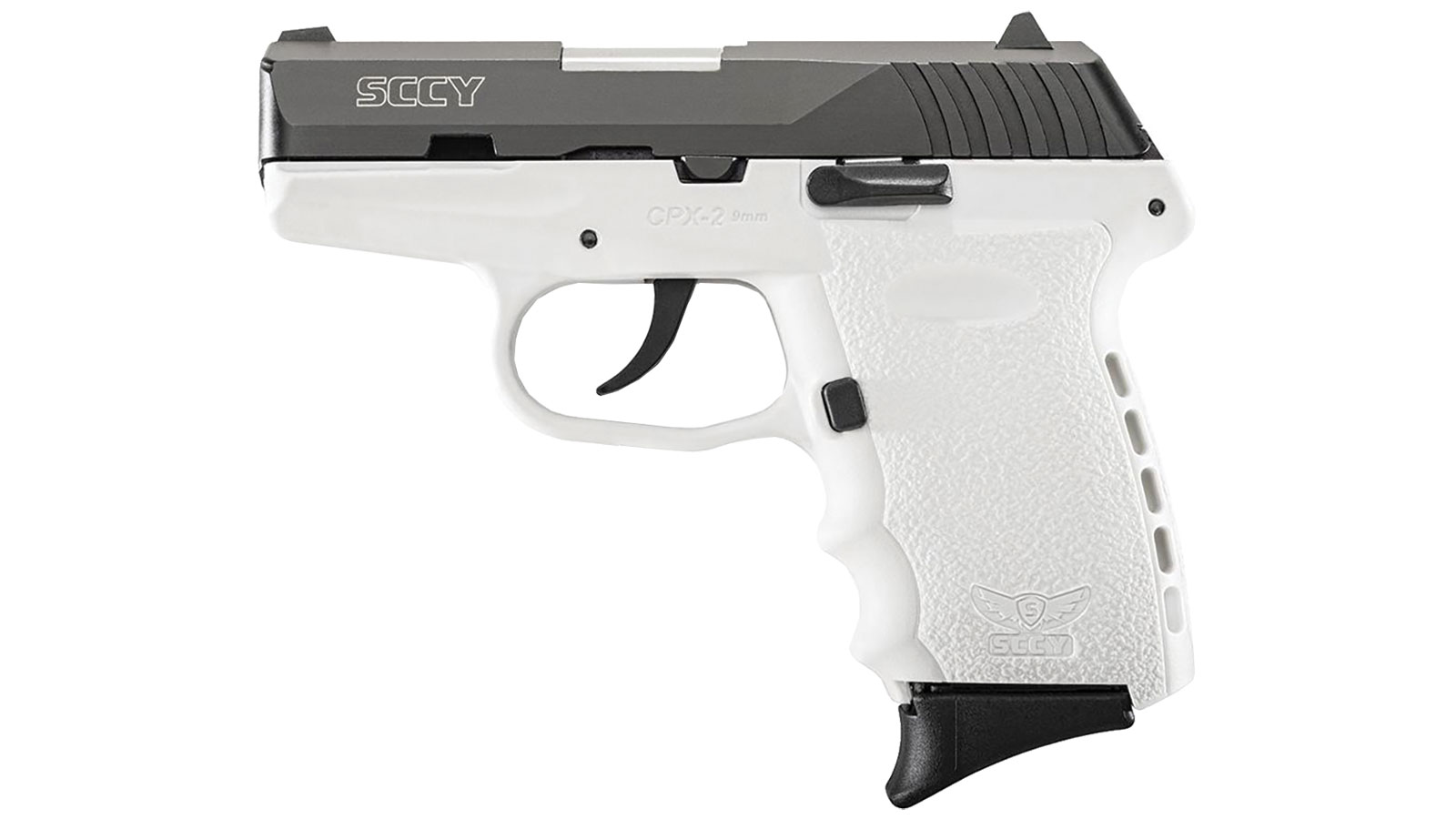 SCCY Industries CPX2CBWT CPX-2 Double 9mm 3.1 10+1 White Polymer Grip|Frame Grip Black Nitride Stainless Steel in.