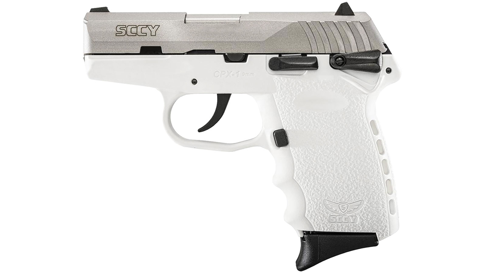 SCCY Industries CPX1TTWT CPX-1 Double 9mm 3.1 10+1 White Polymer Grip|Frame Grip Stainless Steel in.