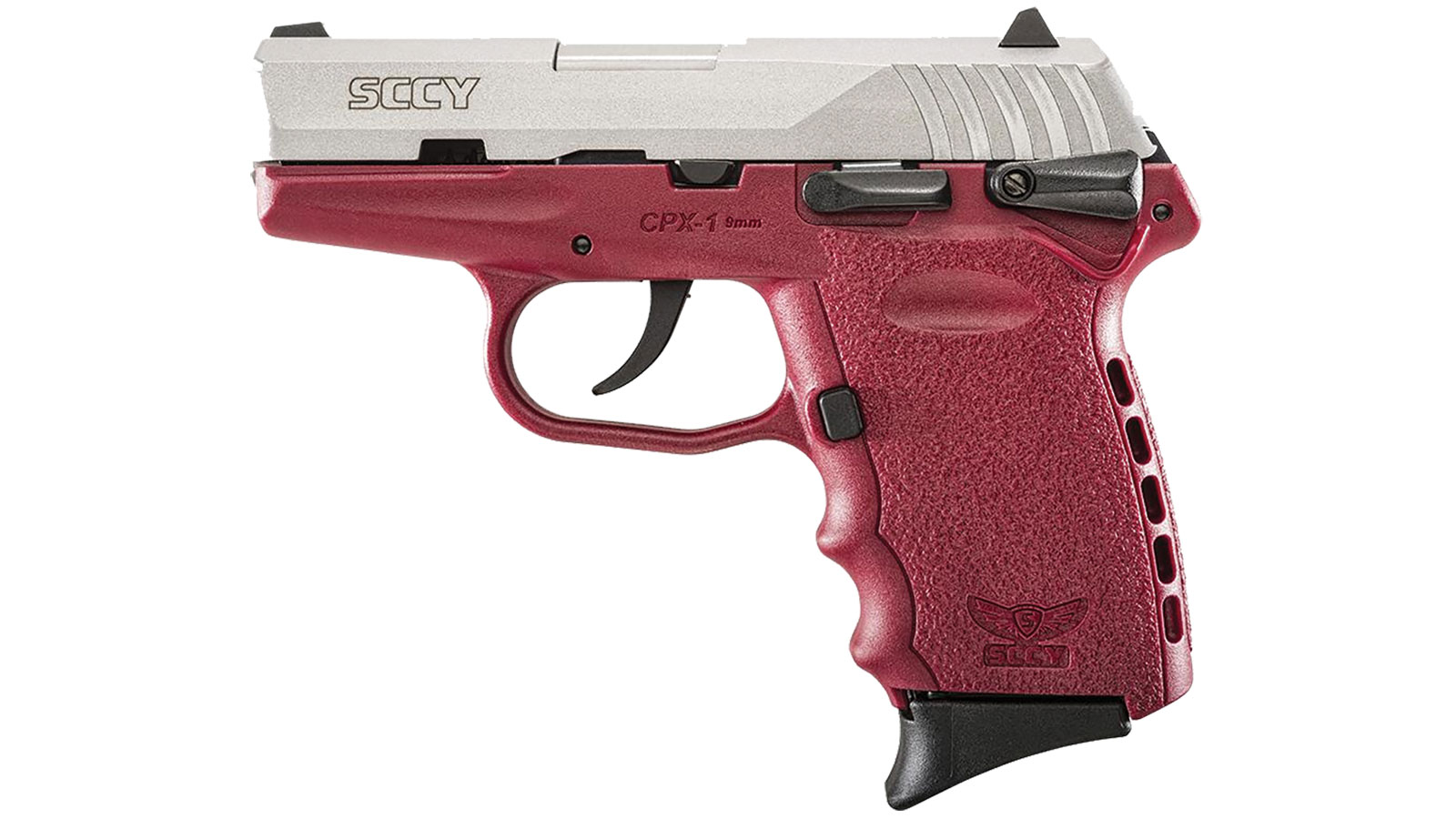 SCCY Industries CPX1TTCR CPX-1 Double 9mm 3.1 10+1 Crimson Polymer Grip|Frame Grip Stainless Steel in.