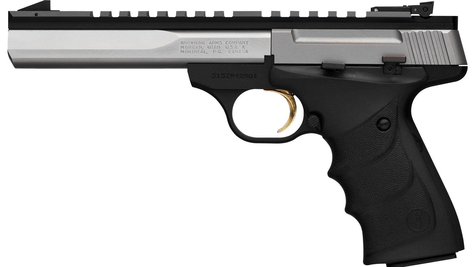 Browning 051507490 Buck Mark Contour 22 Long Rifle (LR) Single 5.5 10+1 Black Ultragrip RX Grip Black Aluminum Alloy Frame Stainless Slide in.