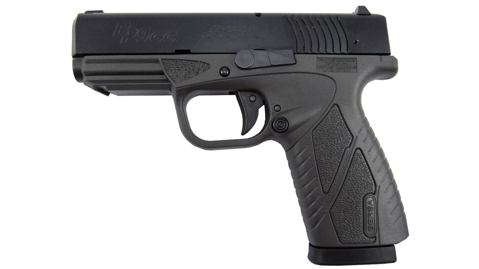 Bersa BP9GRCC BPCC Concealed Carry Double 9mm Luger 3.3 8+1 Gray Polymer Grip|Frame Grip Black in.