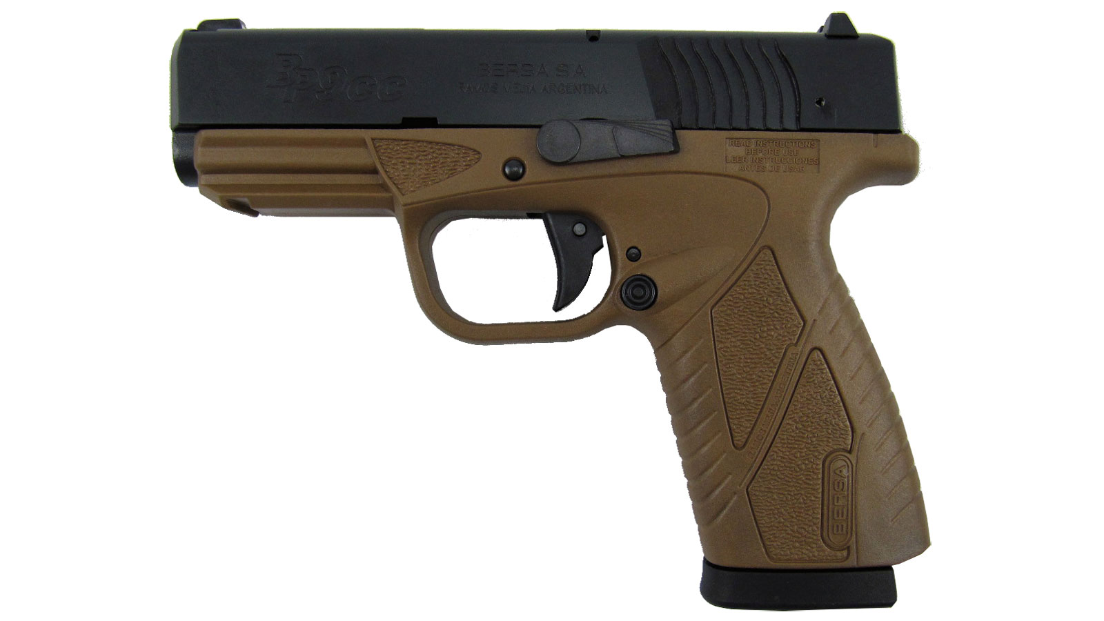 Bersa BP9DECC BPCC Concealed Carry Double 9mm Luger 3.3 8+1 Flat Dark Earth Polymer Grip|Frame Grip Black in.
