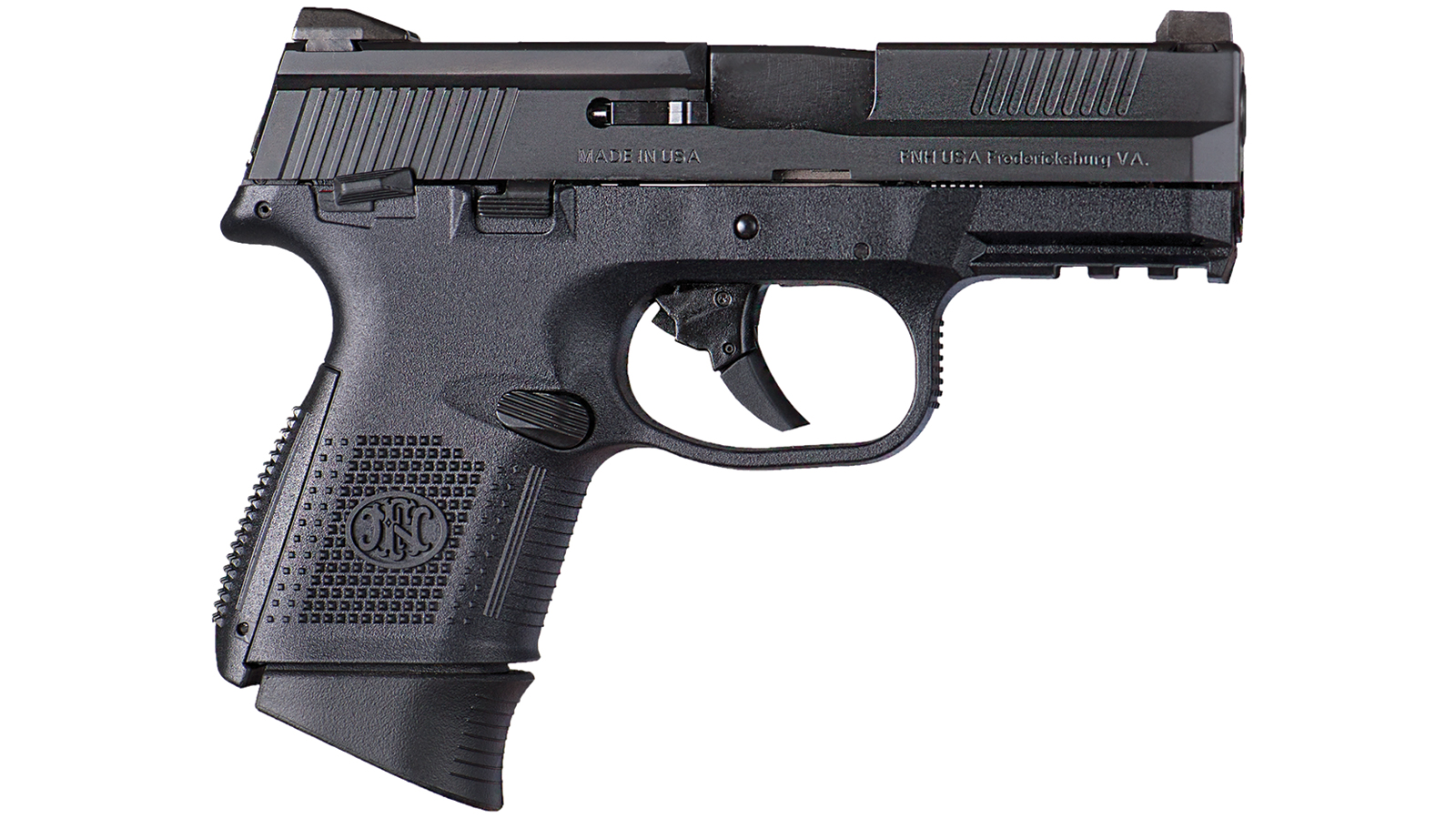 FN 66694 FNS 9 Compact Double 9mm 3.6 MS 10+1 Polymer Grip|Frame Black Stainless Steel in.
