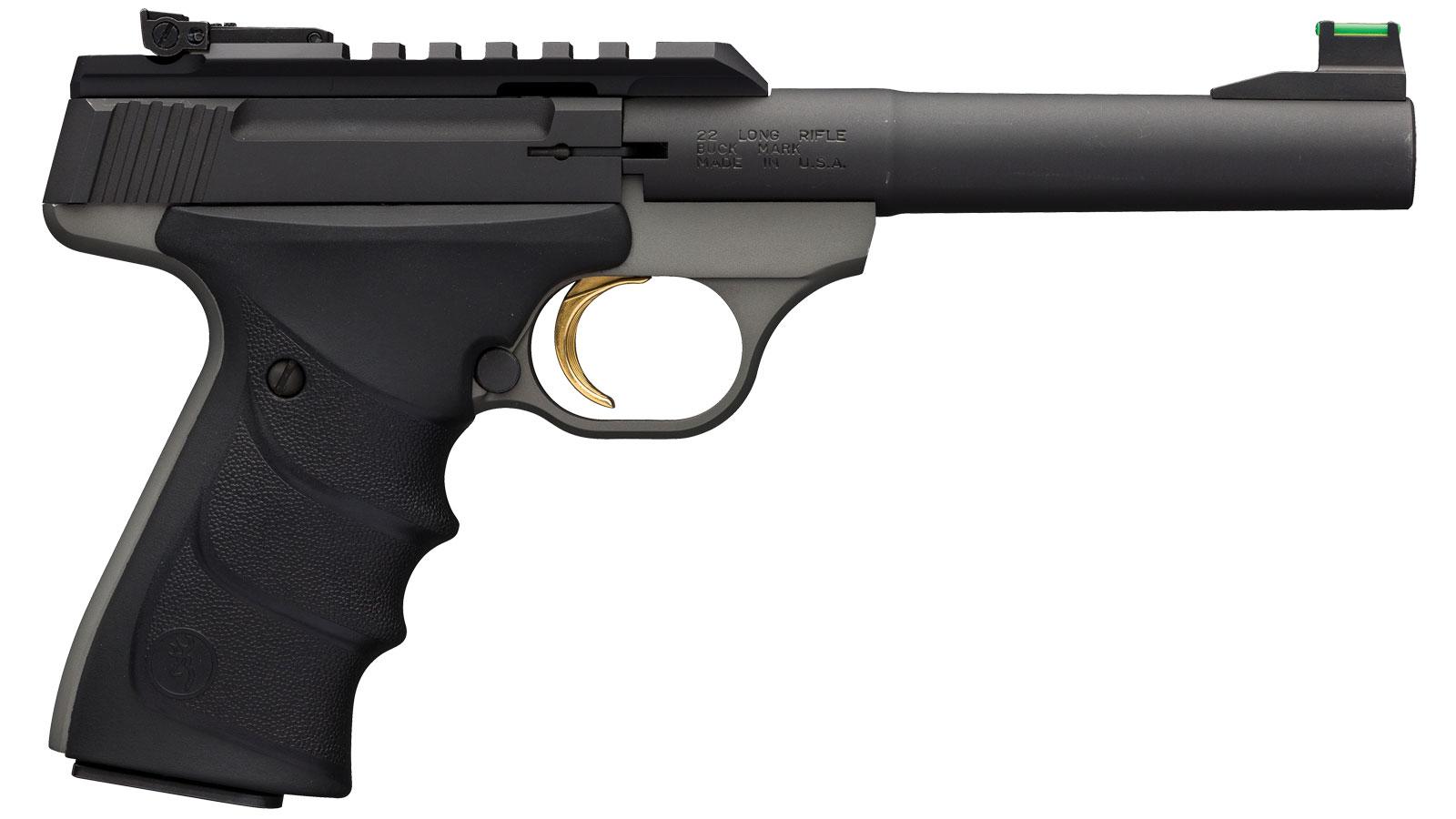 Browning 051530490 Buck Mark Plus Practical 22 Long Rifle (LR) Single 5.5 10+1 Black Ultragrip RX Grip Gray Aluminum Alloy Frame Black Aluminum Alloy Slide in.