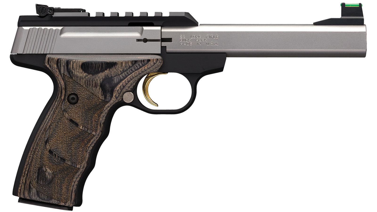 Browning 051531490 Buck Mark Plus 22 Long Rifle (LR) Single 5.5 10+1 Laminate Black Wood UDX Grip Black Aluminum Alloy Frame Stainless Steel Slide in.
