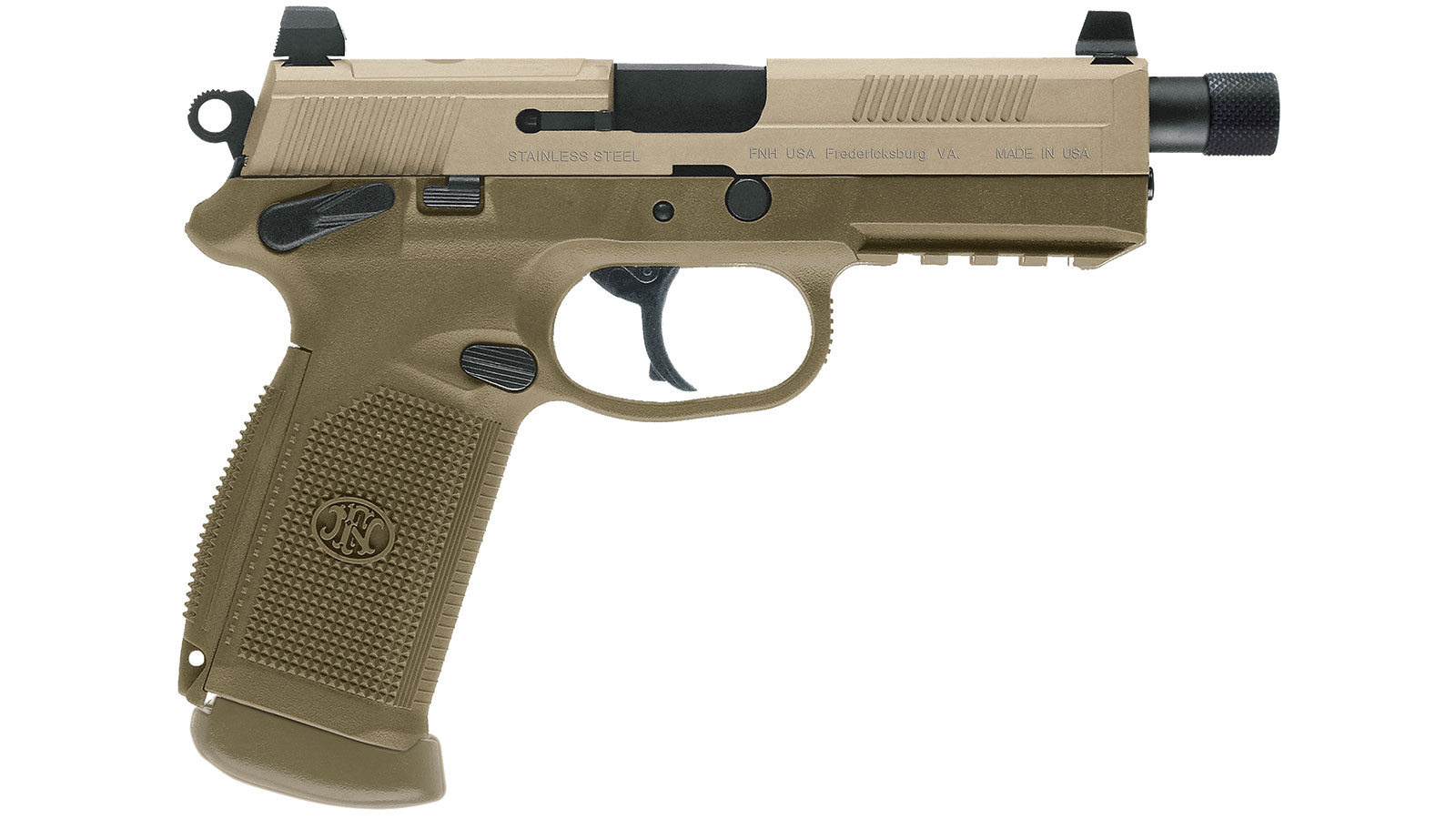 FN 66982 FNX 45 Tactical Single|Double 45 Automatic Colt Pistol (ACP) 5.3 TB 10+1 NS Flat Dark Earth Interchangeable Backstrap Grip Flat Dark Earth Stainless Steel in.