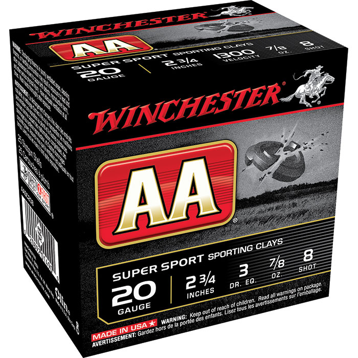 Winchester Ammo AASC208 AA Target Loads 20 Gauge 2.75 in.  7|8 oz 8 Shot 25 Bx| 10 Cs