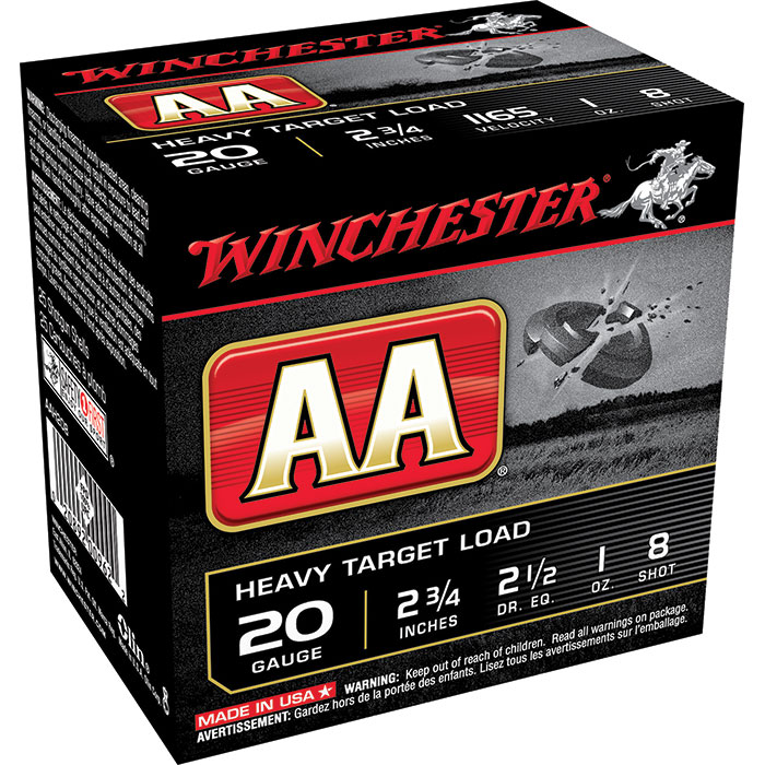 Winchester Ammo AAH208 AA Target Loads 20 Gauge 2.75 in.  1 oz 8 Shot 25 Bx| 10 Cs