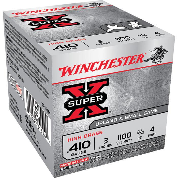 Winchester Ammo X413H4 Super-X High Brass Game 410 Gauge 3 3|4 oz 4 Shot 25 Bx| 10 Cs in.