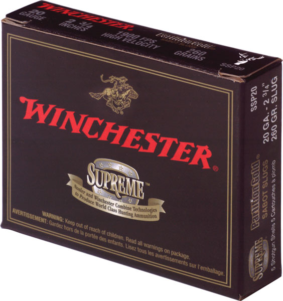 Winchester Ammo SSP203 Supreme Partition Gold Slug 20 Gauge 3 260 GR Sabot Slug Shot 5 Bx| 20 in.