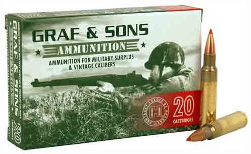 Graf amp Sons Hornady Contract Loaded, 7.5x55mm Swiss, BTSP, 165 Grain, 20 Rounds nbsp nbsp