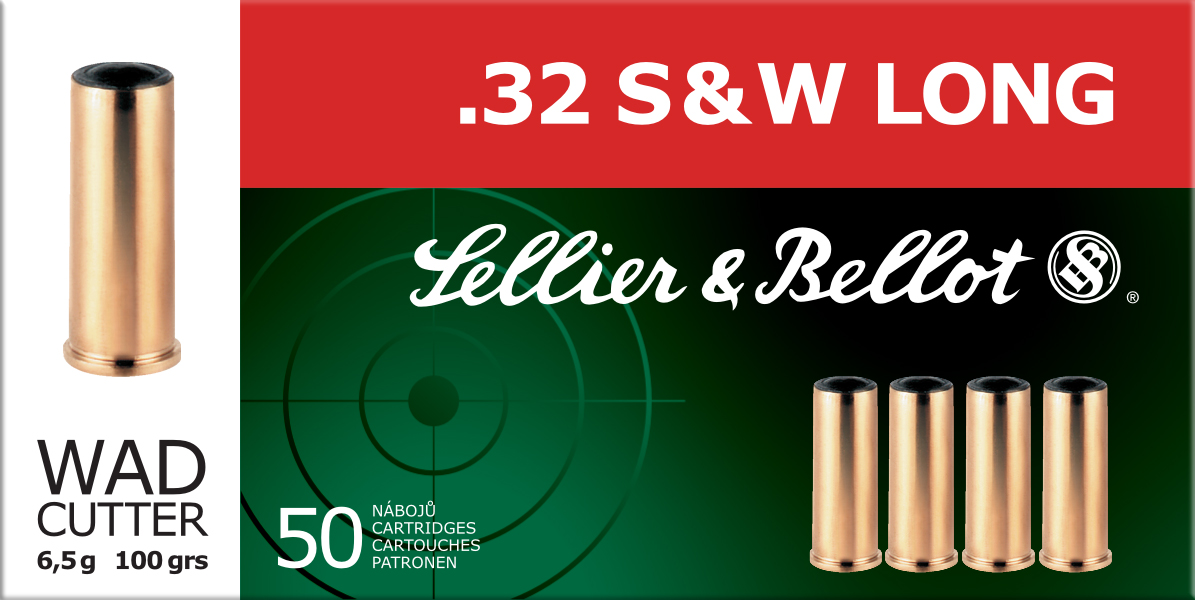 Sellier & Bellot SB32SWLB Handgun 32 Smith & Wesson Long 100 GR Wadcutter 50 Bx| 20 Cs