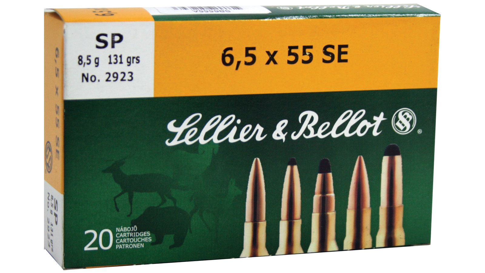 Sellier & Bellot SB6555A Rifle 6.5X55mm Swedish 131 GR Soft Point 20 Bx| 20 Cs