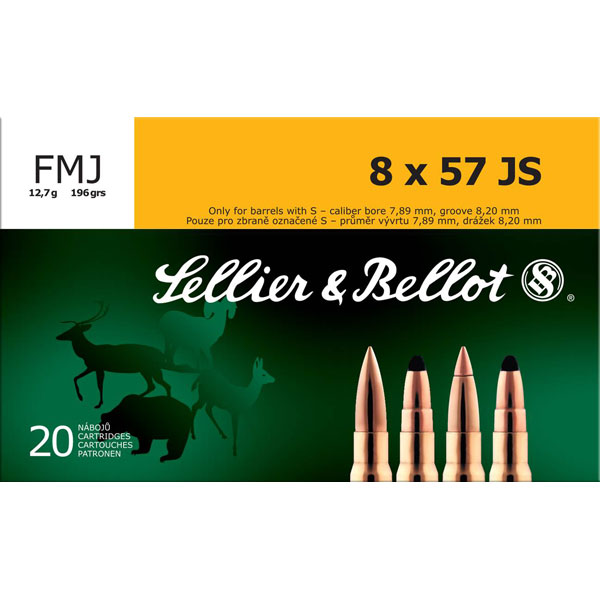 Sellier & Bellot SB857JSA Rifle Training 8X57mm JS 196 GR FMJ 20 Bx| 20 Cs