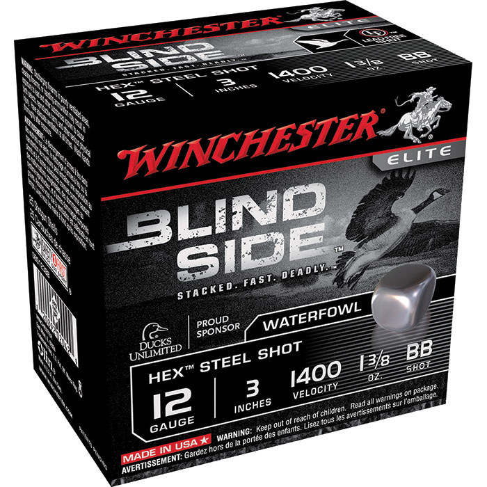 Winchester Ammo SBS123BB Blindside 12 Gauge 3 1-3|8 oz BB Shot 25 Bx| 10 Cs in.