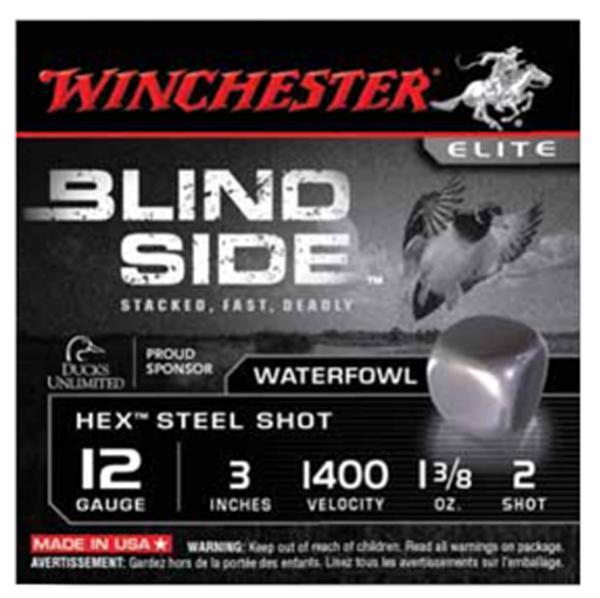 Winchester Ammo SBS1232 Blindside 12 Gauge 3 1-3|8 oz 2 Shot 25 Bx| 10 Cs in.