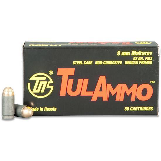 Tulammo TA918092 Centerfire Handgun FMJ 9x18 Makarov 92 GR Full Metal Jacket 50 Bx| 20 Cs