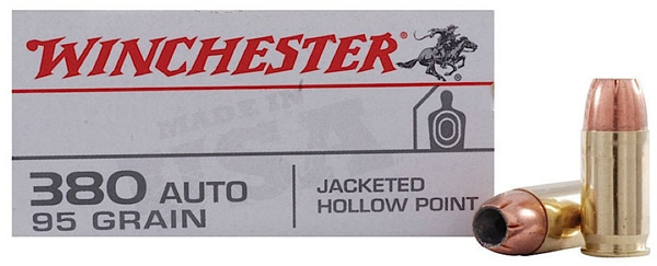 Winchester Ammo USA380JHP Best Value 380 Automatic Colt Pistol (ACP) 95 GR Jacketed Hollow Point 50 Bx| 10 Cs