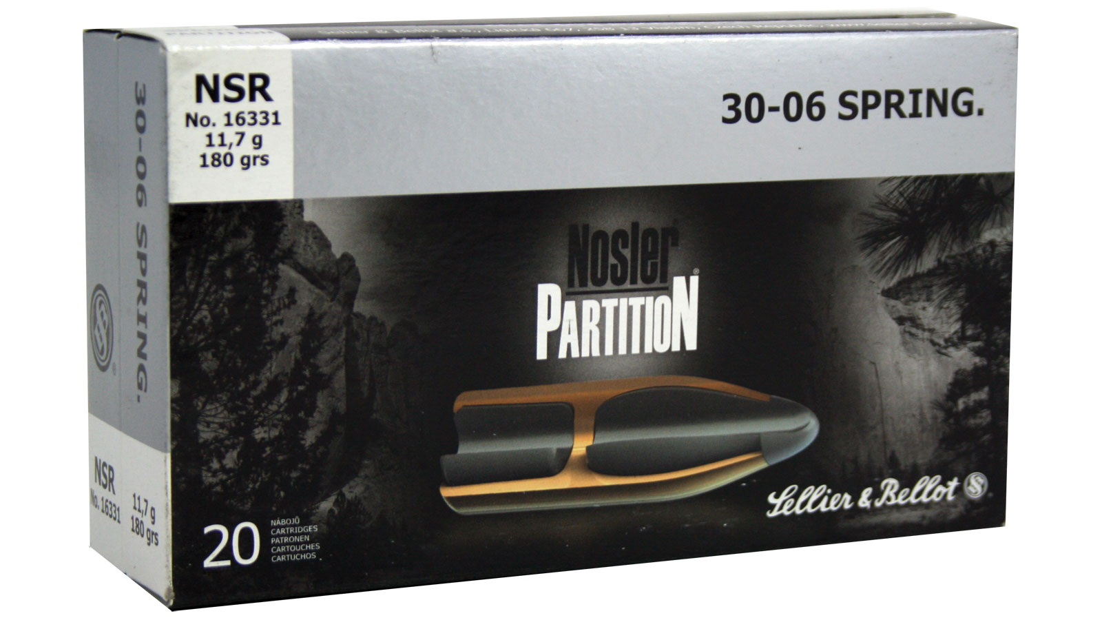 Sellier & Bellot SB3006NSRA Rifle Hunting 30-06 Springfield 180 GR Nosler Partition 20 Bx| 10 Cs