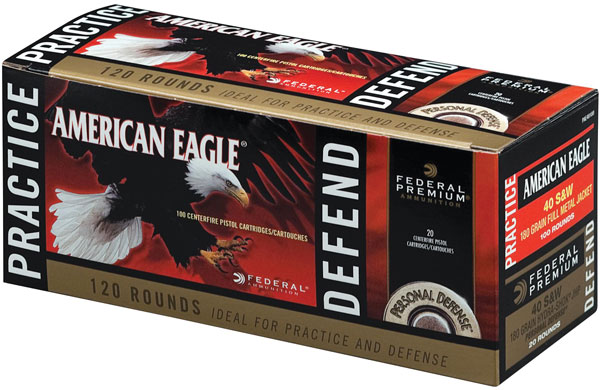 Federal PAE40180 American Eagle Pratice and Defend Combo 40 Smith & Wesson (S&W) 180 GR Full Metal Jacket|Hydro-Shok JHP 120 Bx| 4 Cs