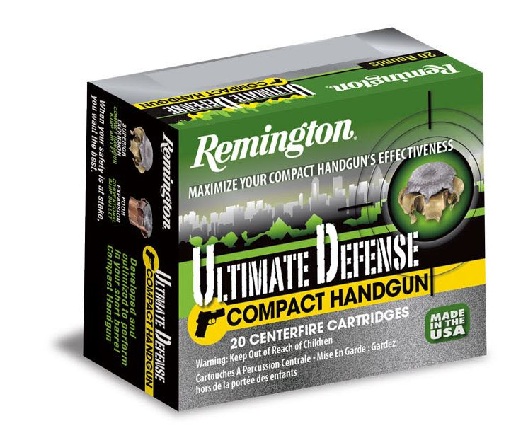 Remington Ammunition CHD45APBN Ultimate Defense Compact Handgun 45 Automatic Colt Pistol (ACP) 230 GR Brass Jacket Hollow Point 20 Bx| 25 Cs