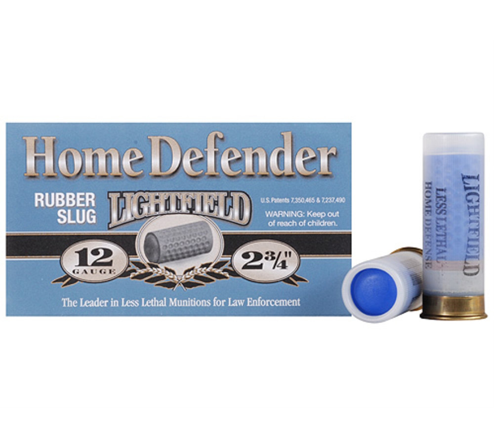 Lightfield Home Defender, 12 Gauge, 2 3|4 quot, 130 Grain, Rubber Slug Rounds, 5 Rounds