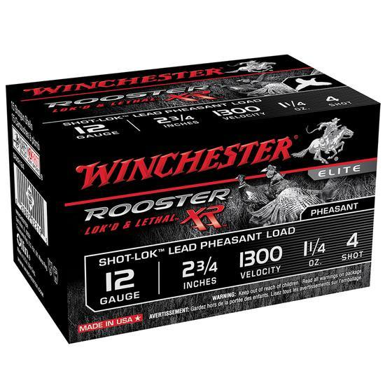 Winchester Ammo SRXR124 Rooster XR 12 Gauge 2.75 1-1|4 oz 4 Shot 15 Bx| 10 Cs in.