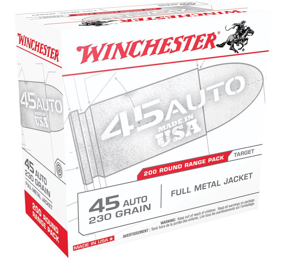 Winchester Ammo USA45W USAW Handgun 45 Automatic Colt Pistol (ACP) 230 GR Full Metal Jacket 200 Bx| 3 Cs
