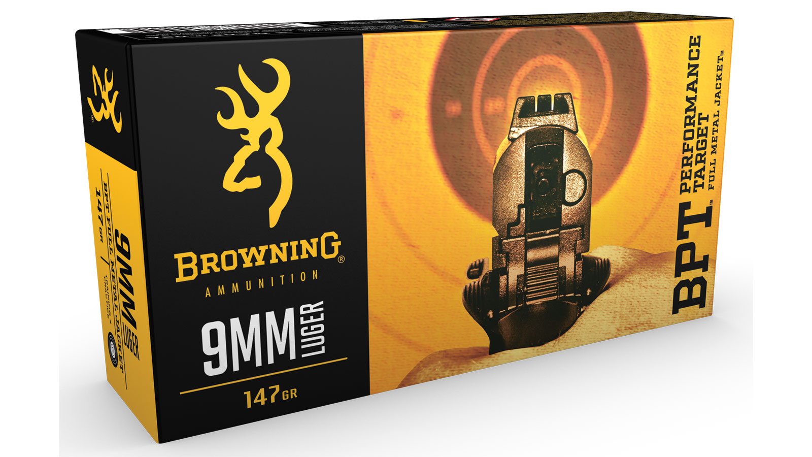 Browning Ammo B191800091 BPT Performance 9mm Luger 147 GR Full Metal Jacket 50 Bx| 10 Cs