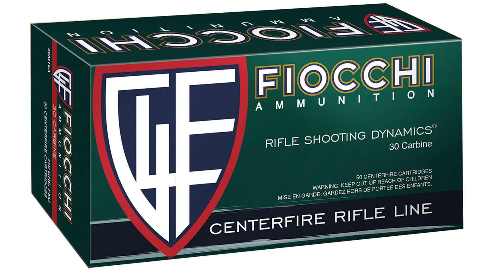 Fiocchi A30M1CA Shooting Dynamics 30 Carbine 110 GR Full Metal Jacket 50 Bx| 10 Cs