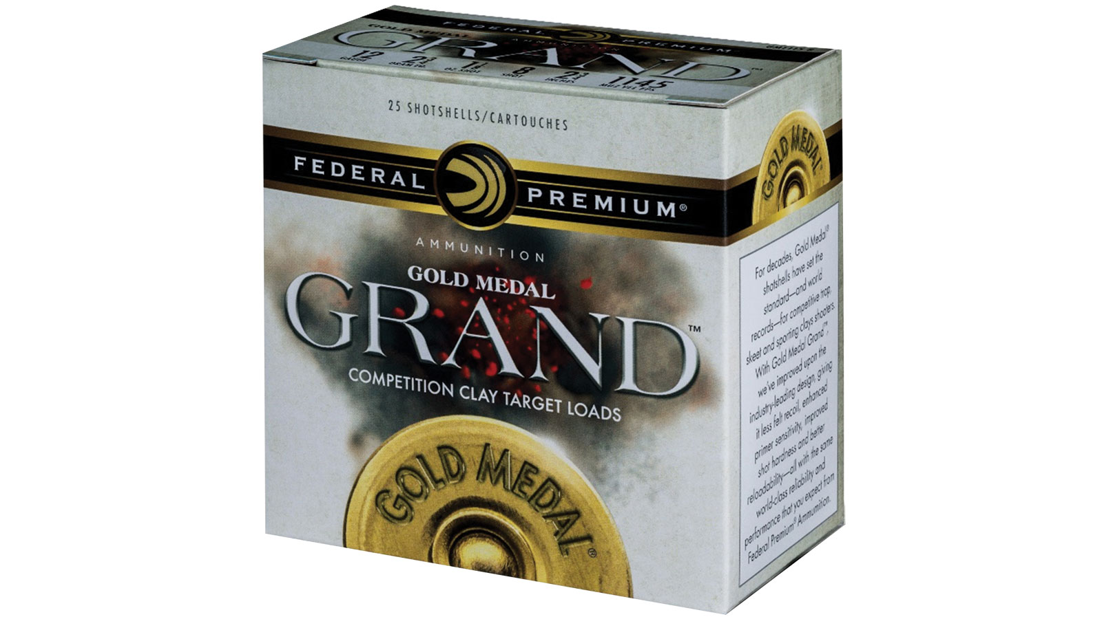 Federal GMT1148 Gold Medal Grand Plastic 12 Gauge 2.75 1-1|8 oz 8 Shot 25 Bx| 10 Cs in.