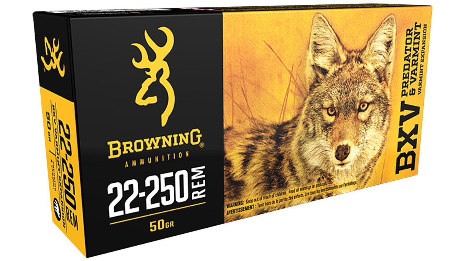 Browning Ammo B192322250 BXV Predator and Varmint 22-250 Remington 50 GR Varmint 20 Bx| 10 Cs