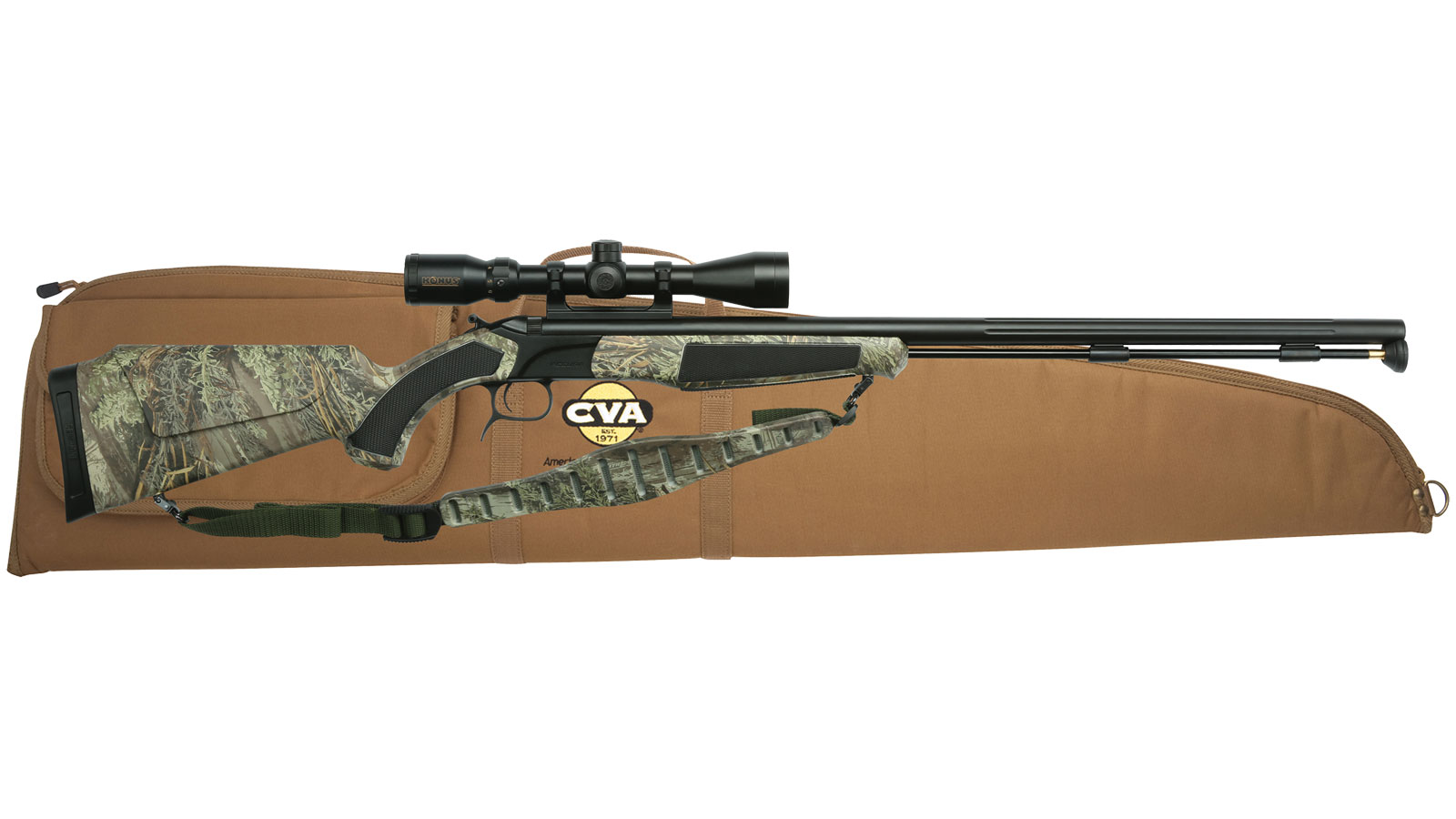 CVA Accura Plains Rifle Camouflage .50 Cal 28-inch 1rd with 3-10x44mm IR Scope