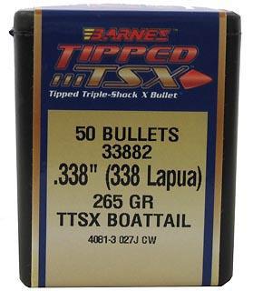 Barnes Bullets 30434 LRX 338 Caliber .338 265 GR Long-Range X Boat Tail 50 Box