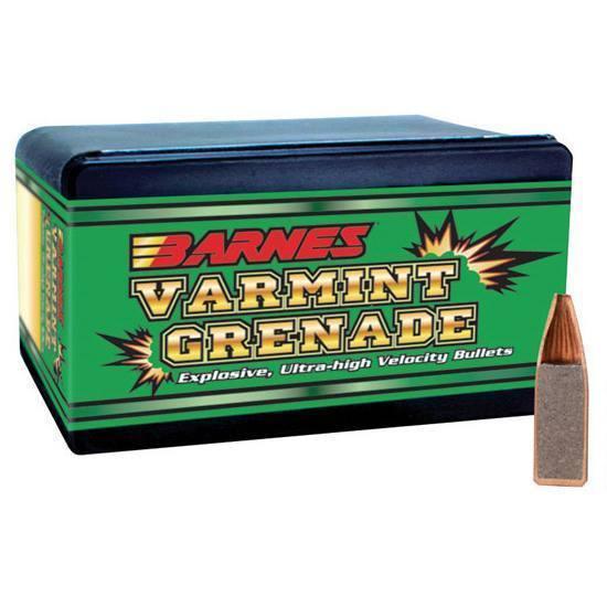 Barnes Bullets 30170 Varmint Grenade 22 Caliber|22 Hornet .224 30 GR Flat Base Hollow Point 100 Box