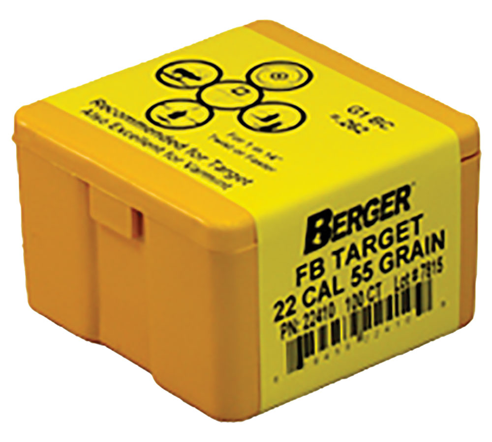 Berger Bullets 22410 Target FB Match Grade 22 Caliber .224 55 GR 100Bx