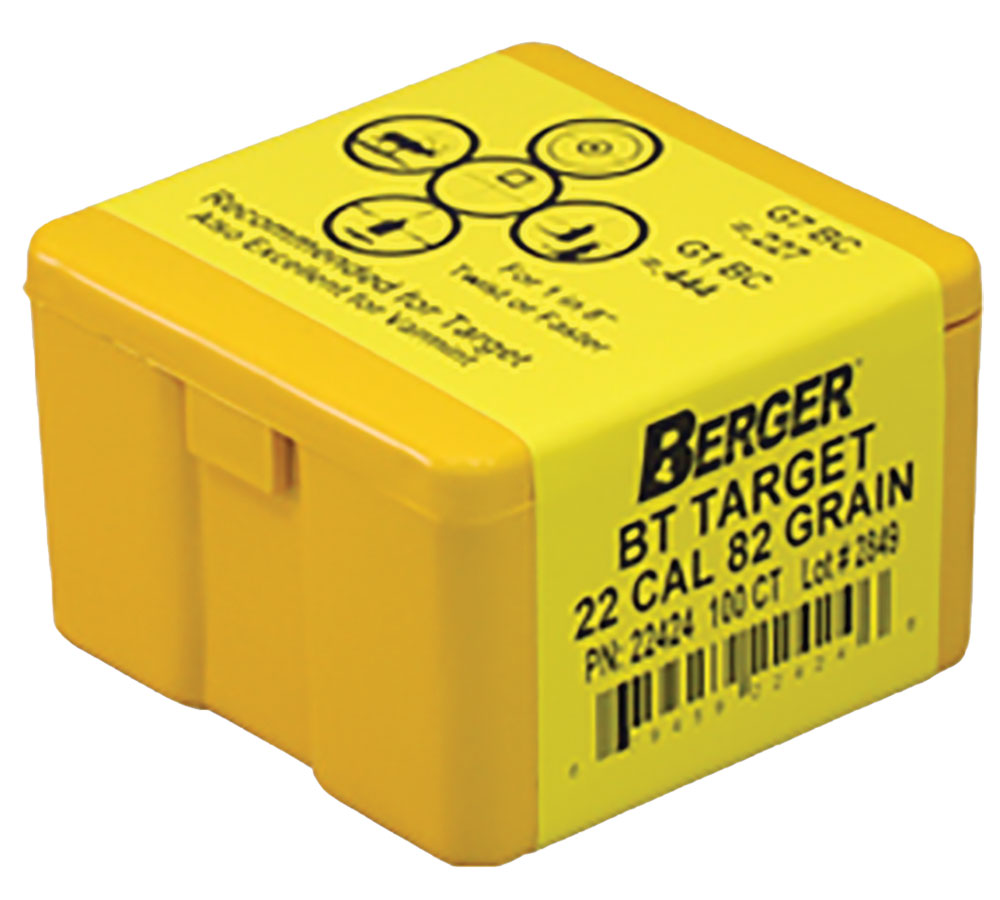Berger Bullets 22424 Target BT Match Grade 22 Caliber .224 82 GR 100Bx