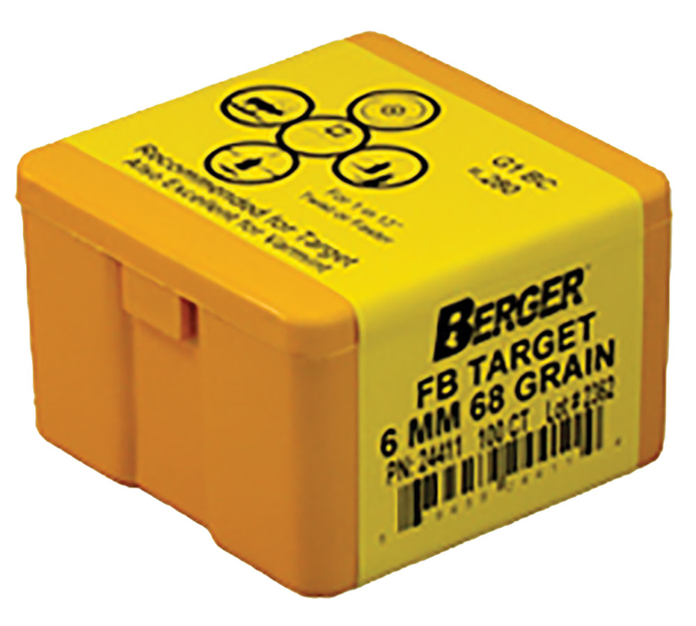 Berger Bullets 24411 Target FB Match Grade 6mm .243 68 GR 100Bx