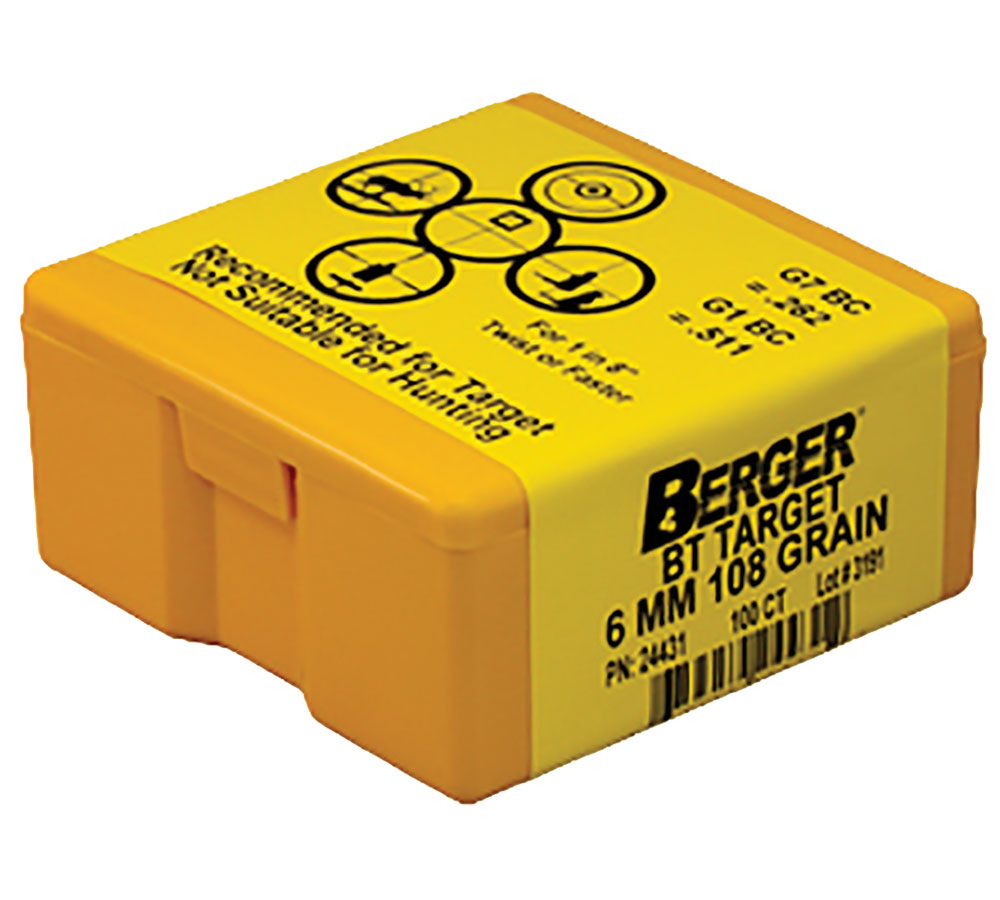Berger Bullets 24431 Target BT Match Grade 6mm .243 108 GR 100Bx