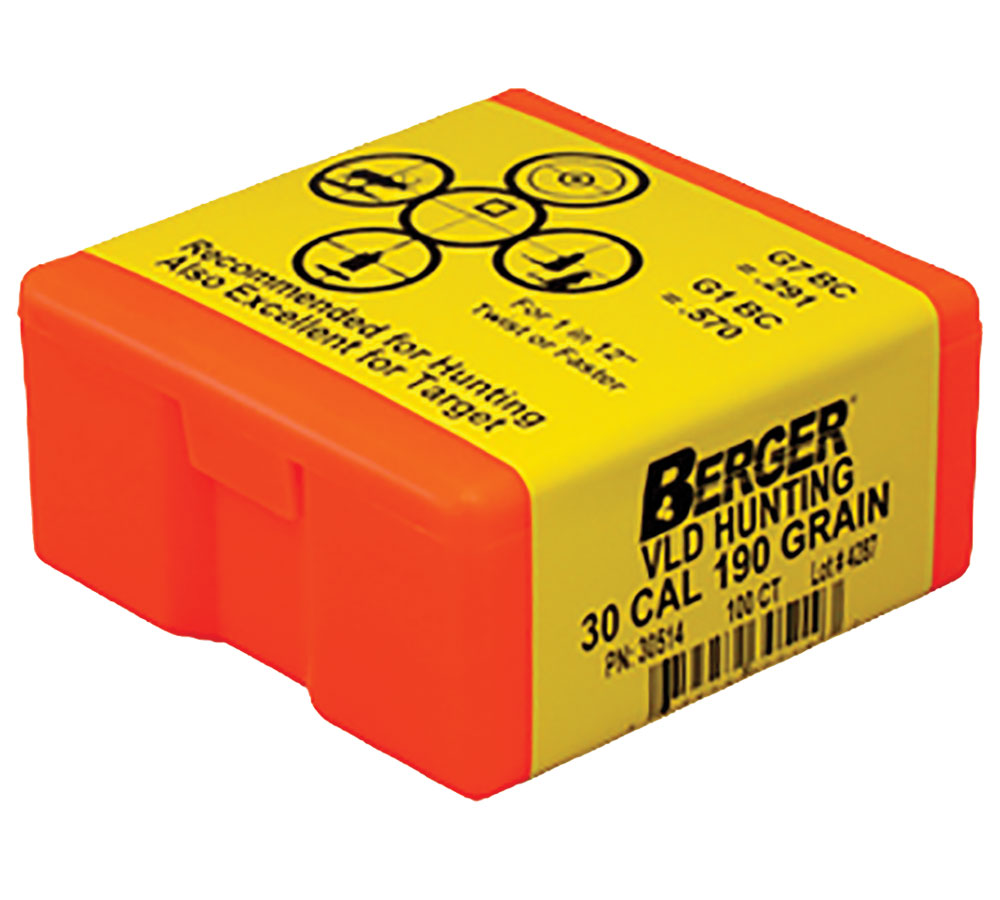 Berger Bullets 30514 Hunting VLD 30 Caliber .308 190 GR 100Bx