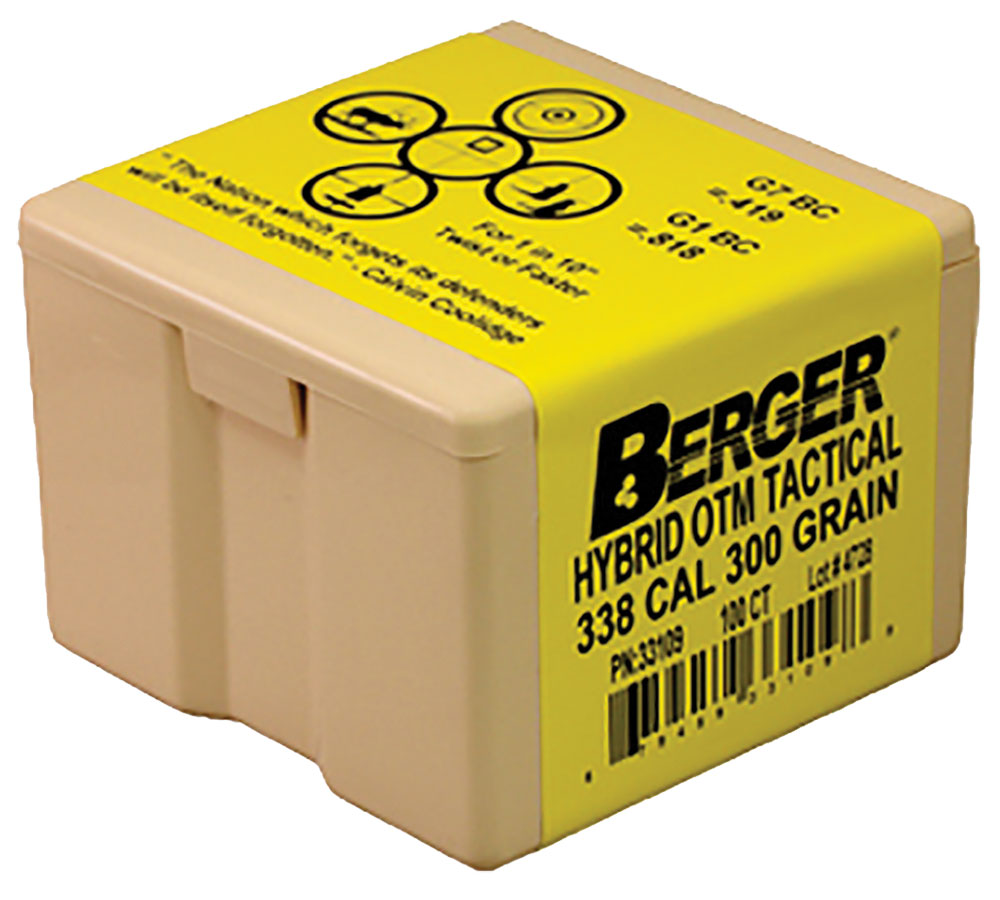 Berger Bullets 33109 Match Hybrid OTM Tactical 338 Caliber .338 300 GR 100 Box
