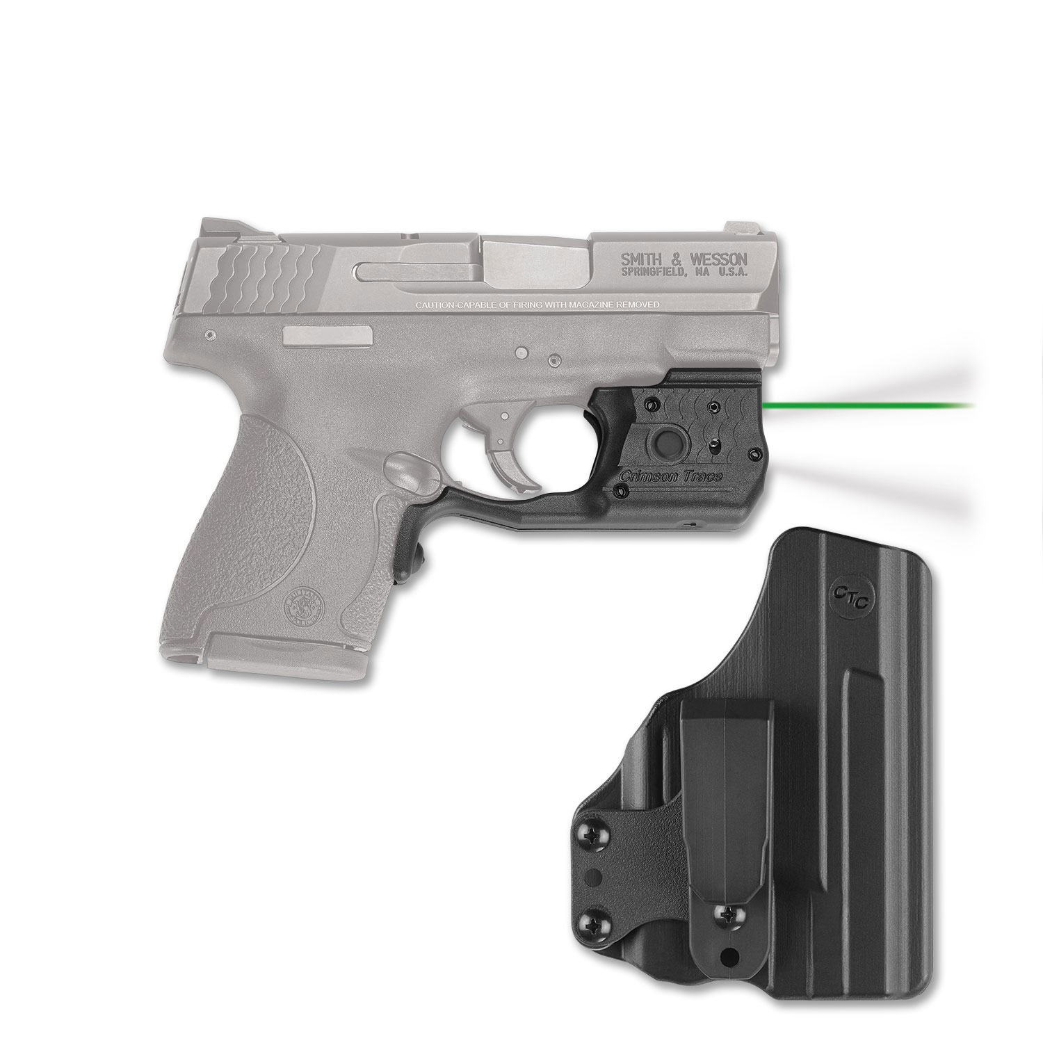 Crimson Trace LL801GHBT Laserguard Pro with Holster Green Laser S&W M&P Shield Trigger Guard Black