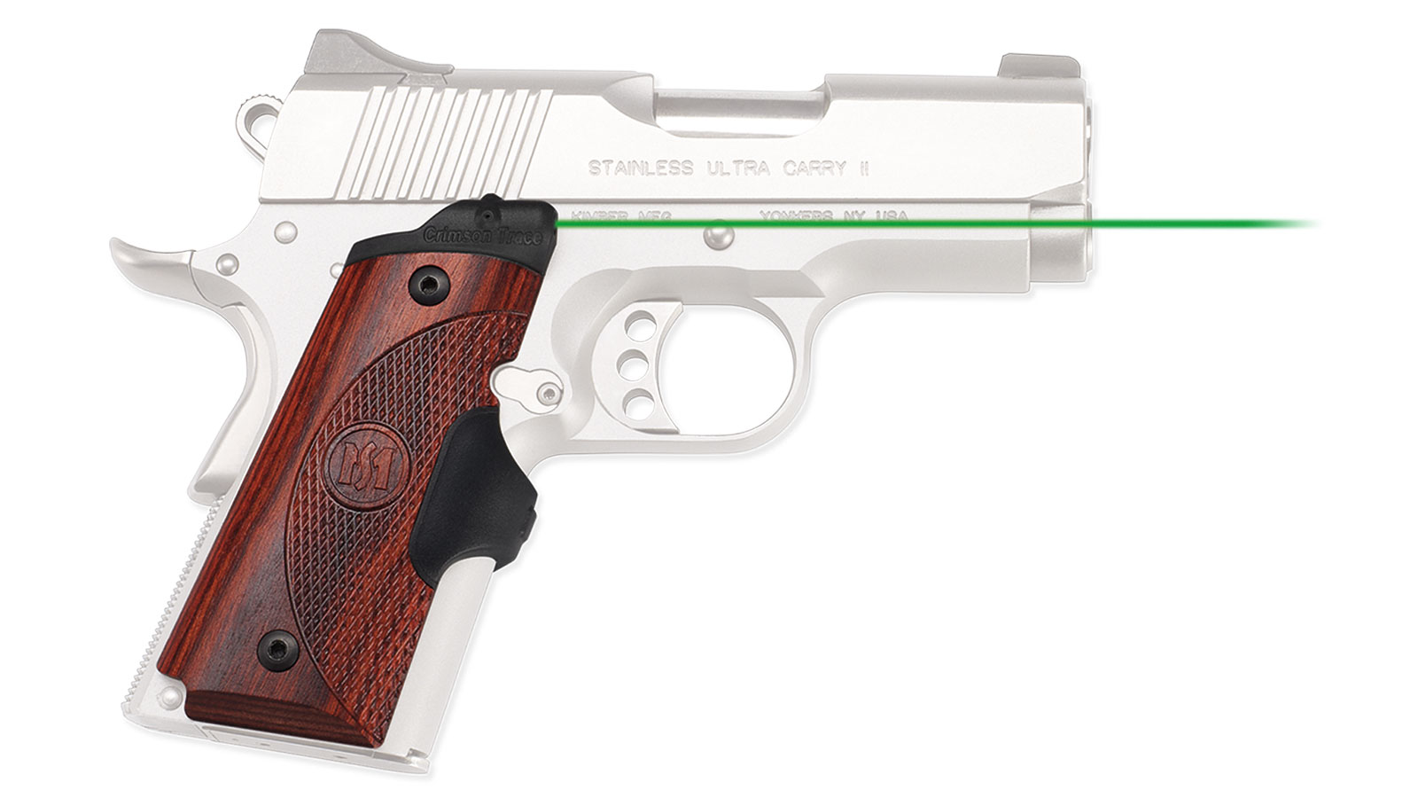 Crimson Trace Green Master Series Lasergrips Rosewood for 1911 Compact