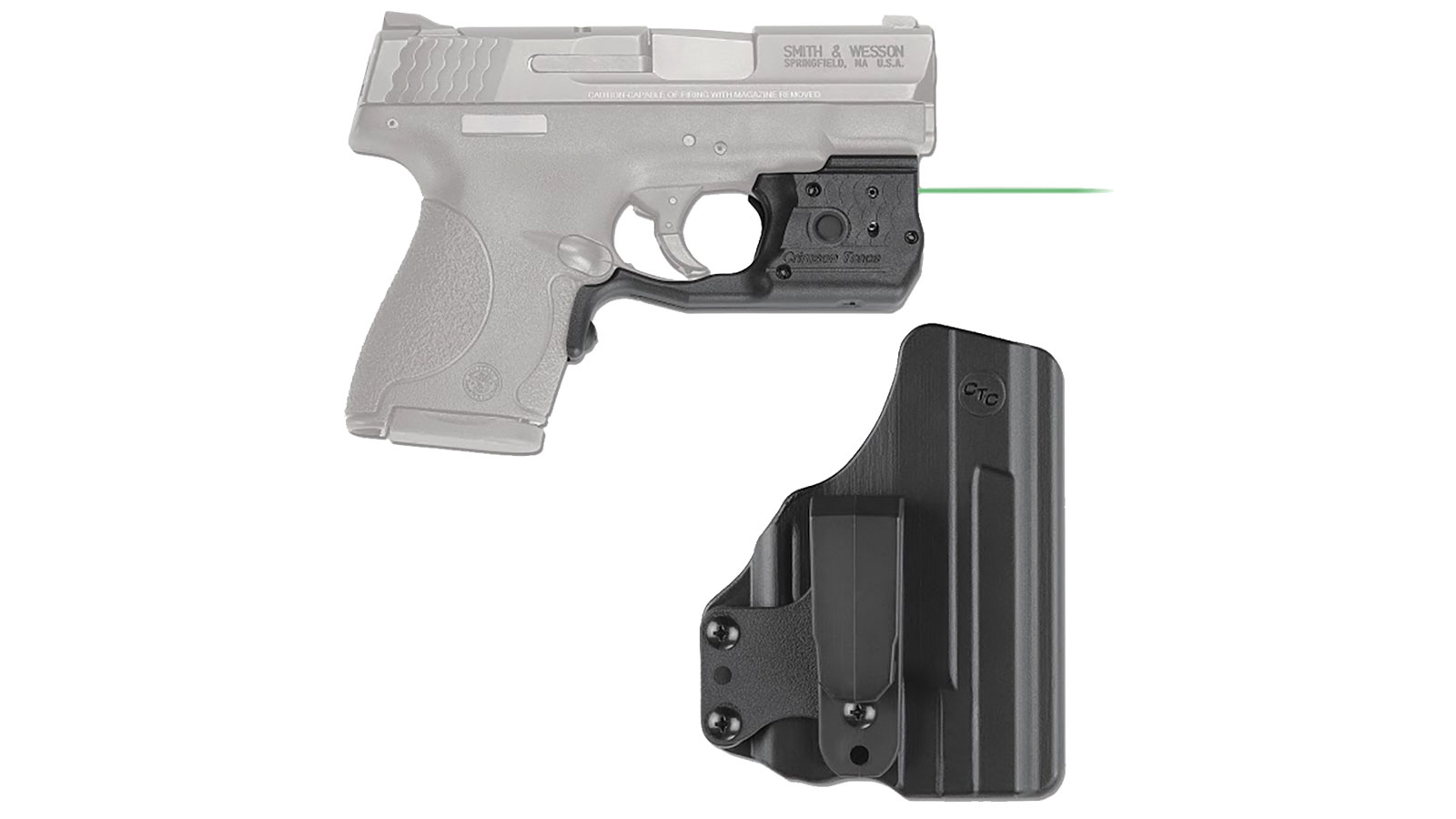 Crimson Trace LL808GHBT Laserguard Pro  with White LED Light|Green Laser S&W M&P Shield 45 Trigger Guard