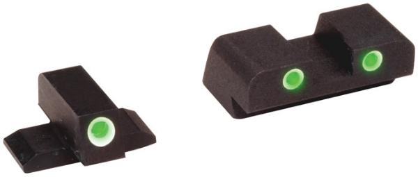 AmeriGlo XD191 Classic 3 Dot Night Sight Springfield XD Green Tritium w|White Outline Black
