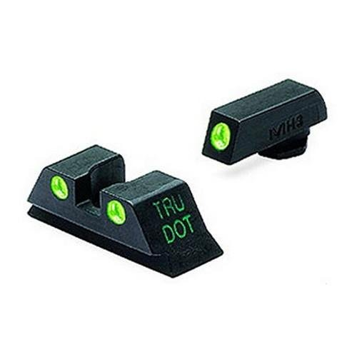 Meprolight 10224Y Tru-Dot Night Sight Set Glock 17|19|20|21|22|23 Tritium Green Front|Yellow Rear Black