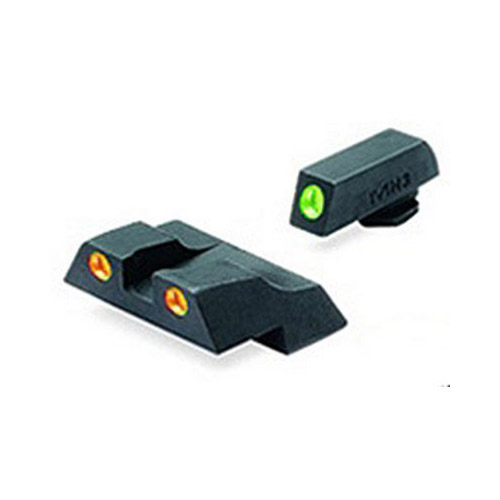 Meprolight 10226O Tru-Dot Night Sight Set Glock 26|27 Tritium Green Front|Orange Rear Black