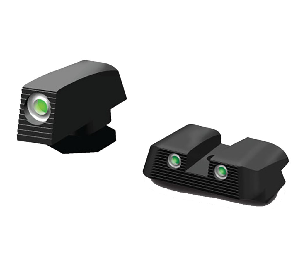 Hiviz GLN129 Tritium Nitesight Set Glock 45ACP|10mm|45GAP Green w|White Outline